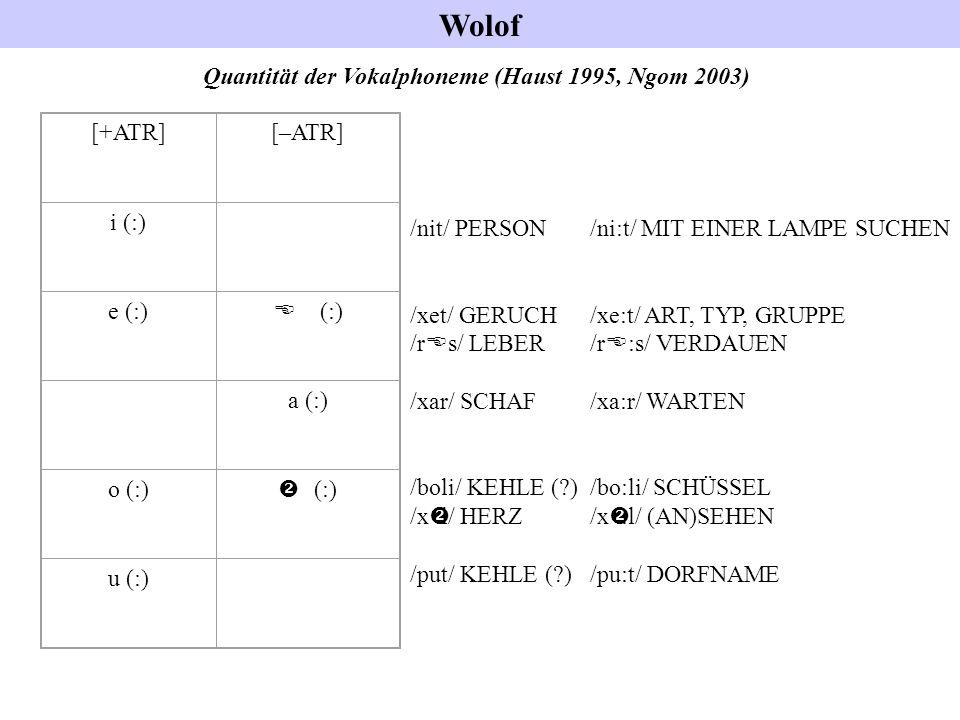 Quantität der Vokalphoneme (Haust 1995, Ngom 2003)