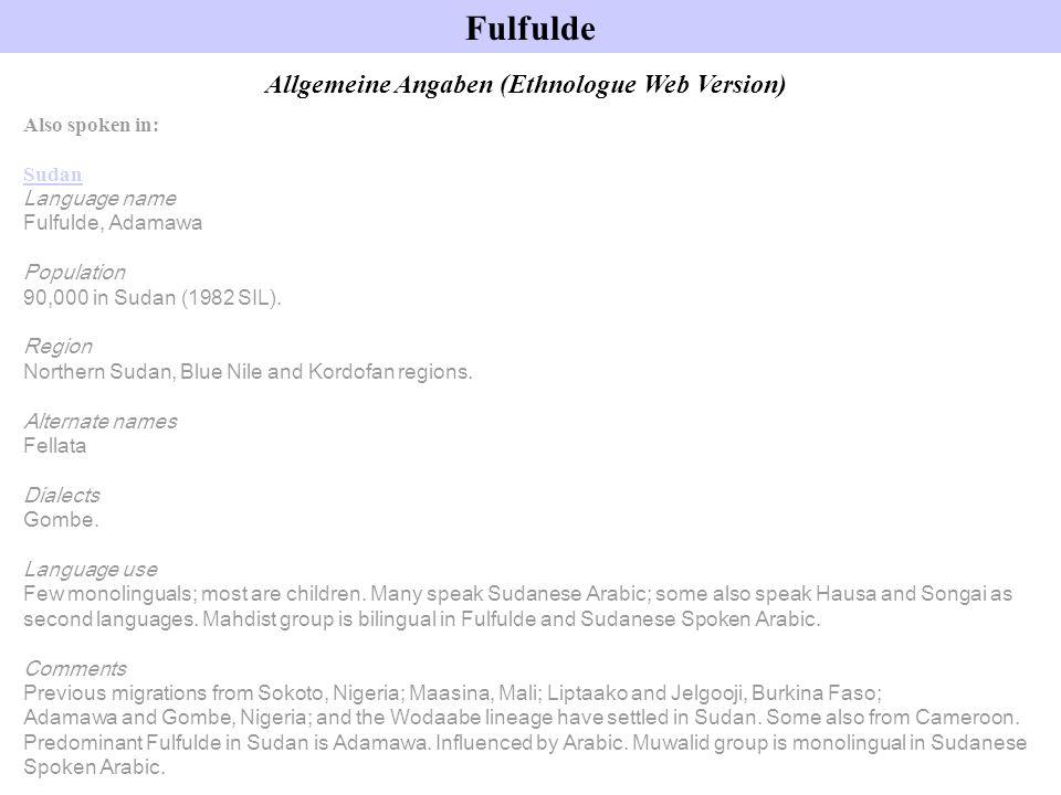 Allgemeine Angaben (Ethnologue Web Version)