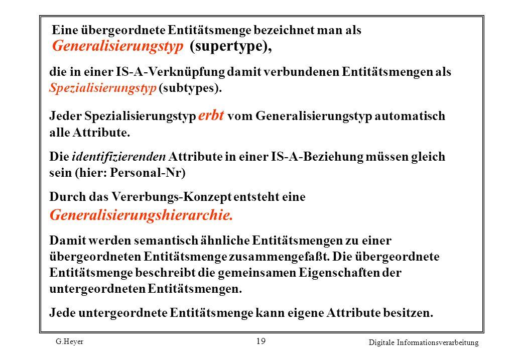 Eine übergeordnete Entitätsmenge bezeichnet man als Generalisierungstyp (supertype),