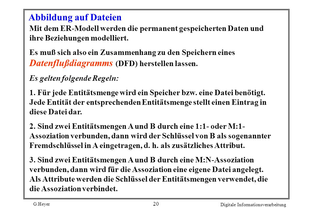 Abbildung auf Dateien Mit dem ER-Modell werden die permanent gespeicherten Daten und ihre Beziehungen modelliert.