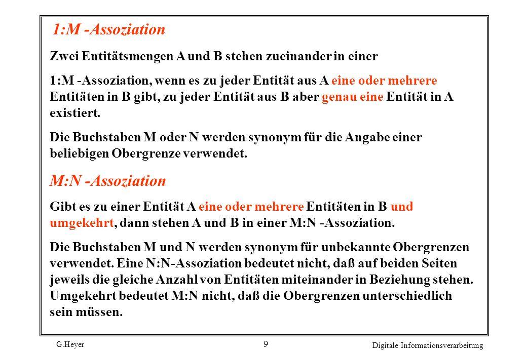 1:M -Assoziation M:N -Assoziation