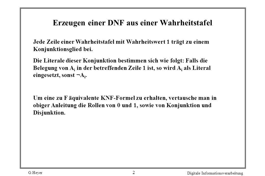 Erzeugen einer DNF aus einer Wahrheitstafel