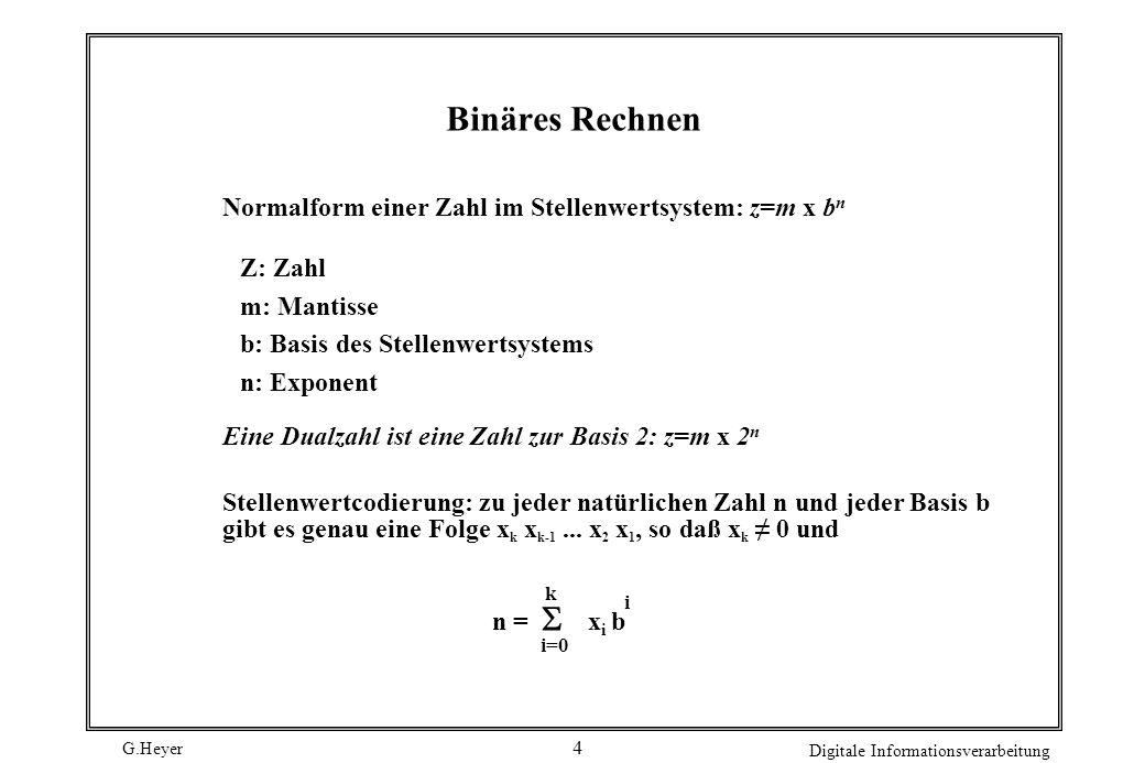 Binäres Rechnen Normalform einer Zahl im Stellenwertsystem: z=m x bn