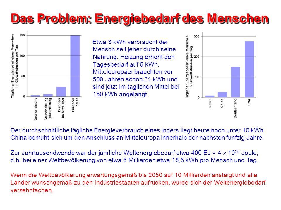 Das Problem: Energiebedarf des Menschen