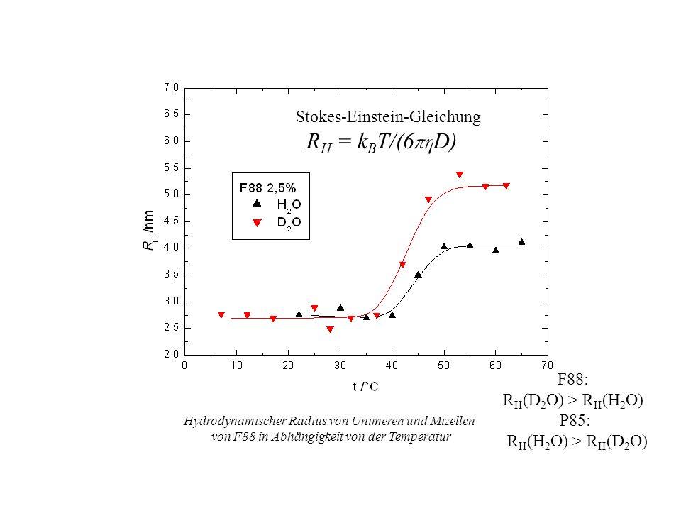 Stokes-Einstein-Gleichung RH = kBT/(6πηD)