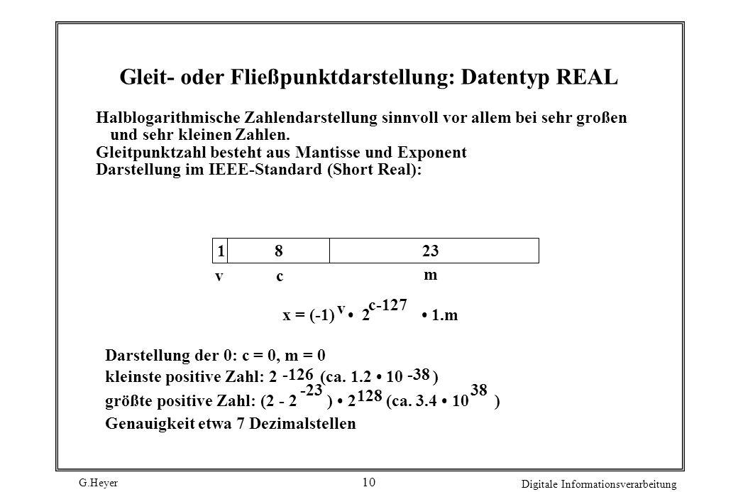 Gleit- oder Fließpunktdarstellung: Datentyp REAL