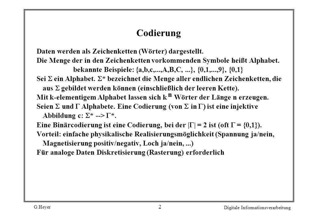 Codierung Daten werden als Zeichenketten (Wörter) dargestellt.