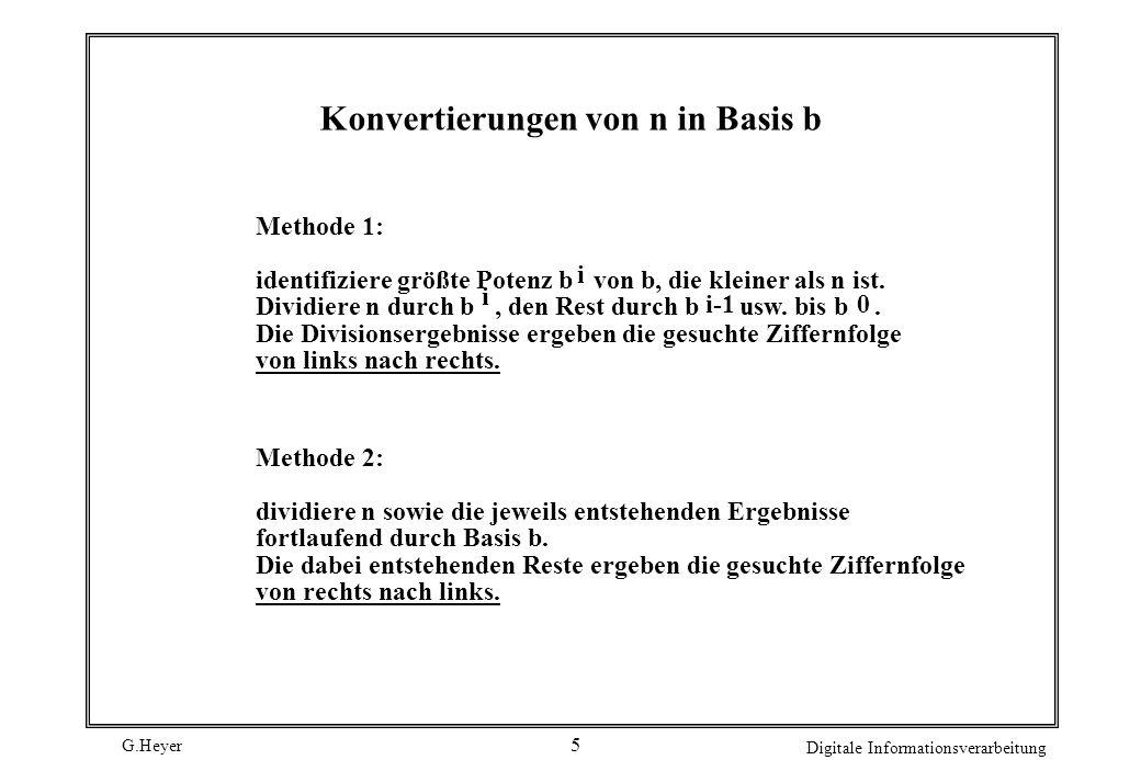 Konvertierungen von n in Basis b