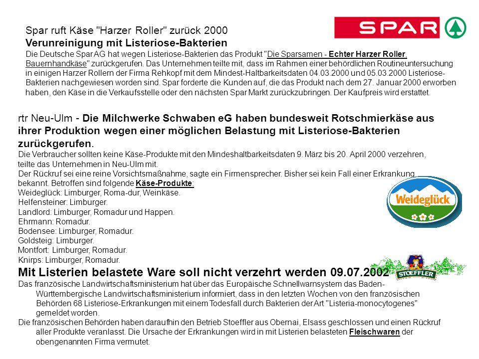 Mit Listerien belastete Ware soll nicht verzehrt werden 09.07.2002