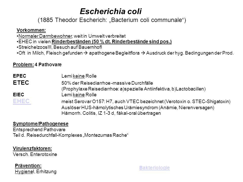 "(1885 Theodor Escherich: ""Bacterium coli communale )"