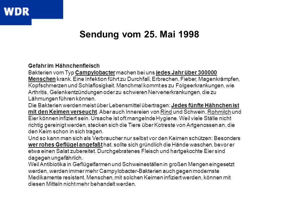Sendung vom 25. Mai 1998 Gefahr im Hähnchenfleisch