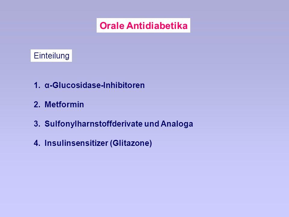 Orale Antidiabetika Einteilung α-Glucosidase-Inhibitoren Metformin