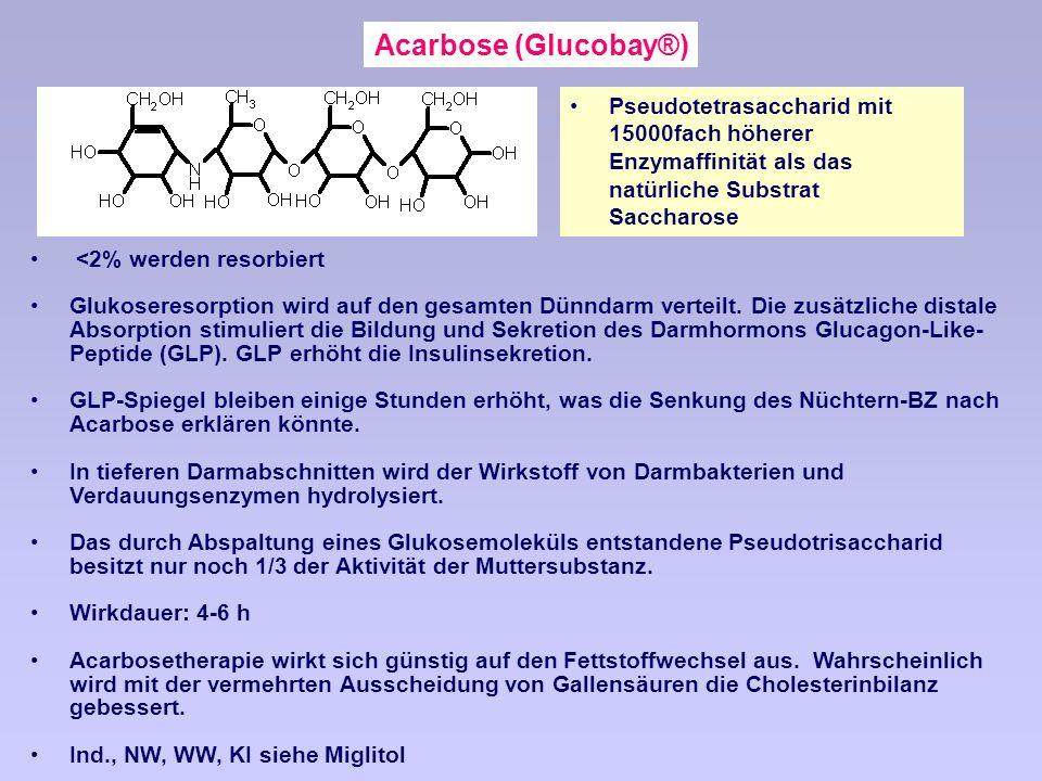Acarbose (Glucobay®) Pseudotetrasaccharid mit 15000fach höherer Enzymaffinität als das natürliche Substrat Saccharose.