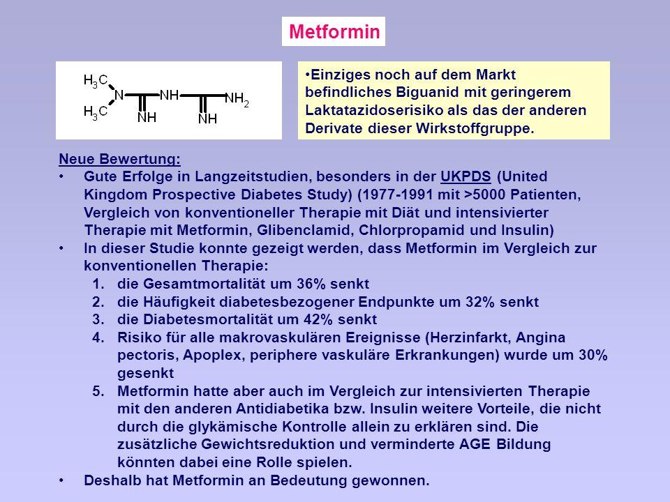 Metformin Einziges noch auf dem Markt befindliches Biguanid mit geringerem Laktatazidoserisiko als das der anderen Derivate dieser Wirkstoffgruppe.