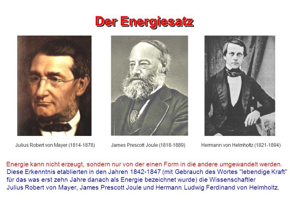 Der Energiesatz Julius Robert von Mayer (1814-1878) James Prescott Joule (1818-1889) Hermann von Helmholtz (1821-1894)