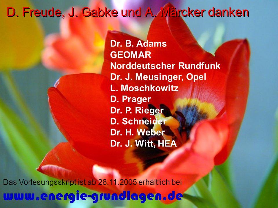D. Freude, J. Gabke und A. Märcker danken