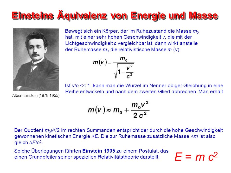 Einsteins Äquivalenz von Energie und Masse