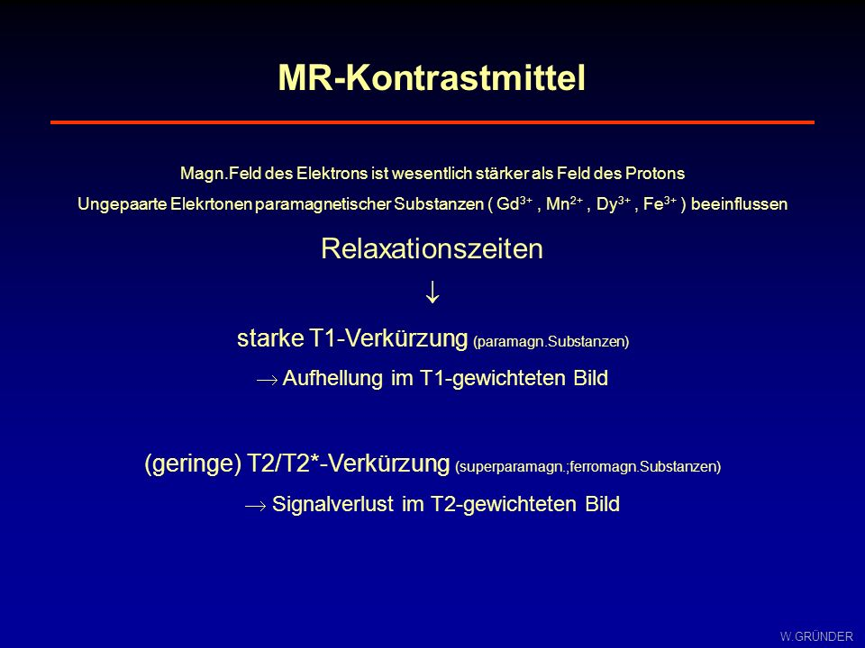 MR-Kontrastmittel Relaxationszeiten 
