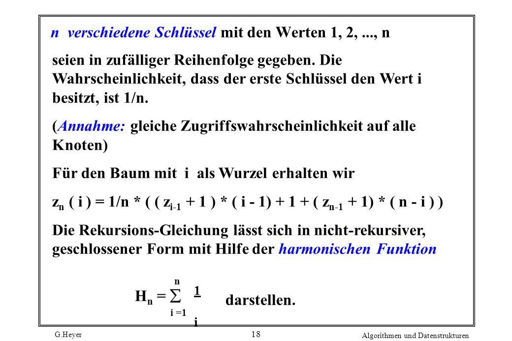 n verschiedene Schlüssel mit den Werten 1, 2, ..., n