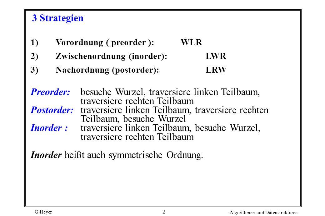 Preorder: besuche Wurzel, traversiere linken Teilbaum,