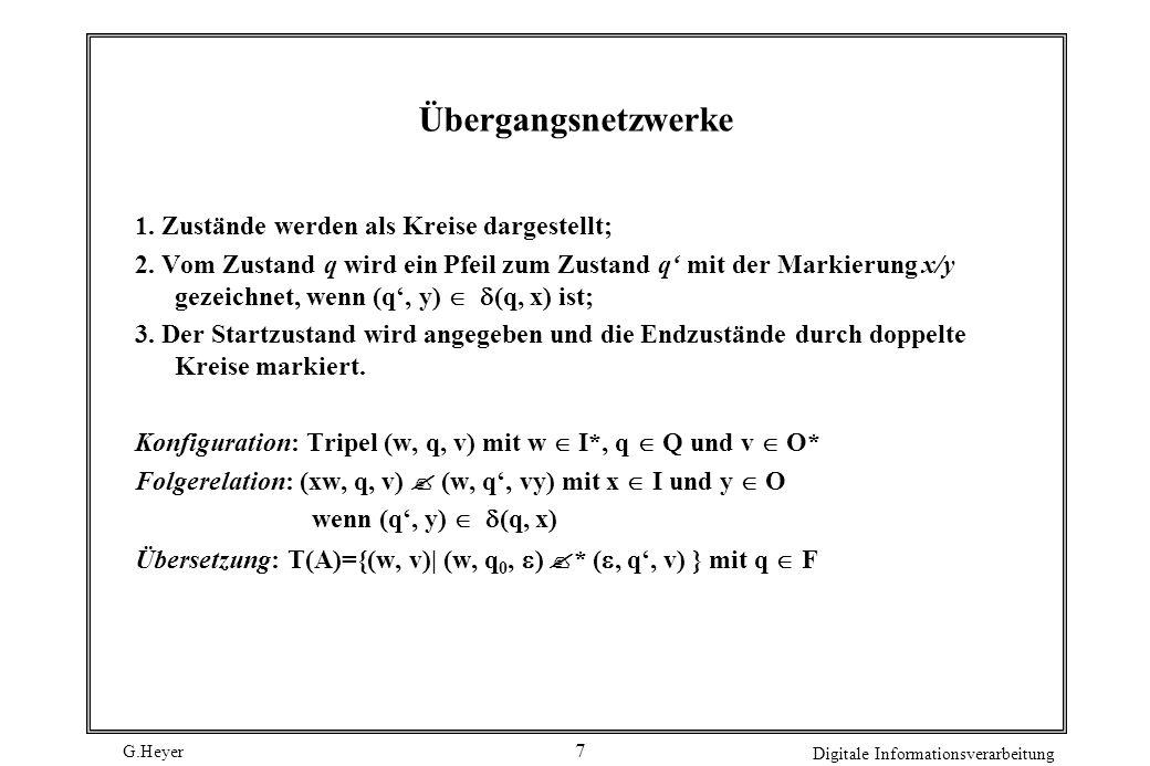 Übergangsnetzwerke 1. Zustände werden als Kreise dargestellt;