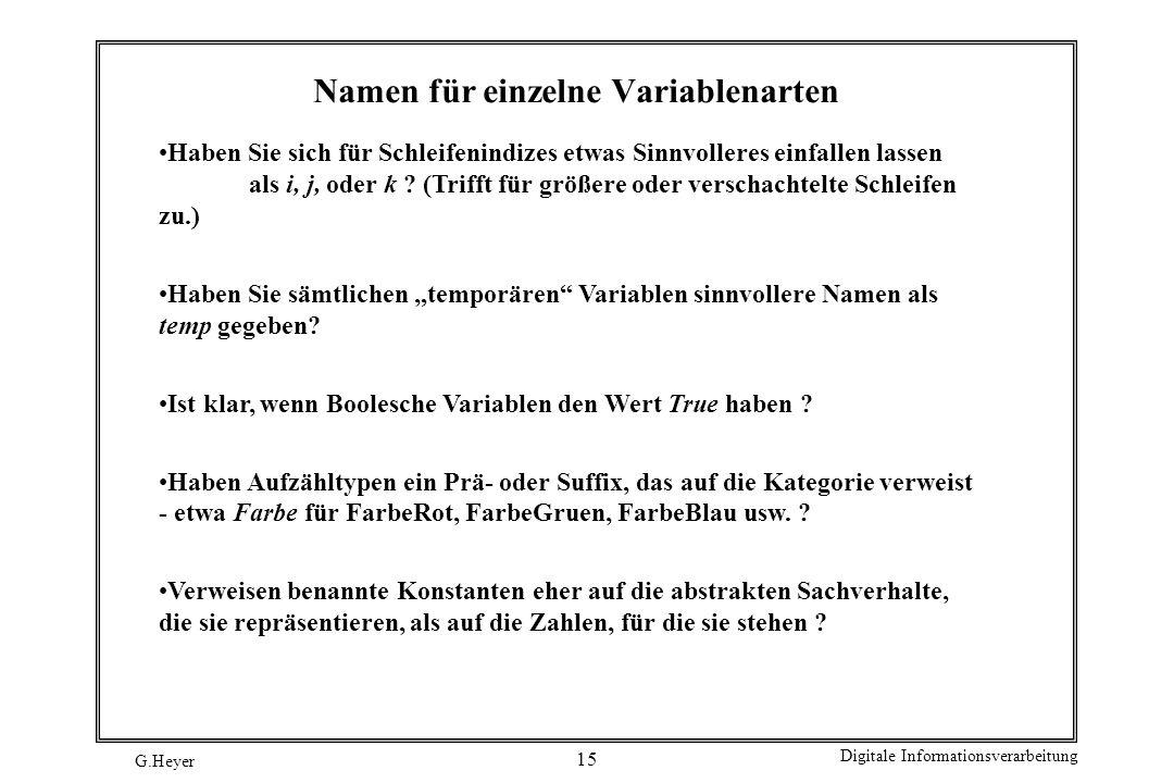 Namen für einzelne Variablenarten
