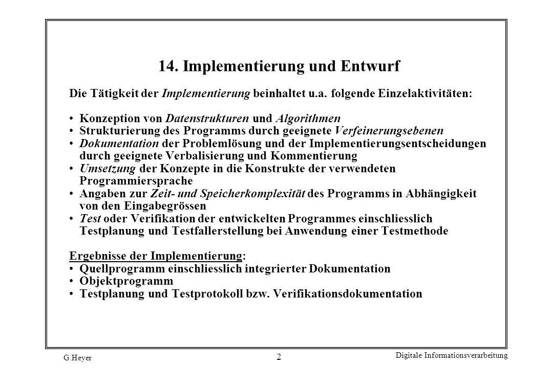 14. Implementierung und Entwurf