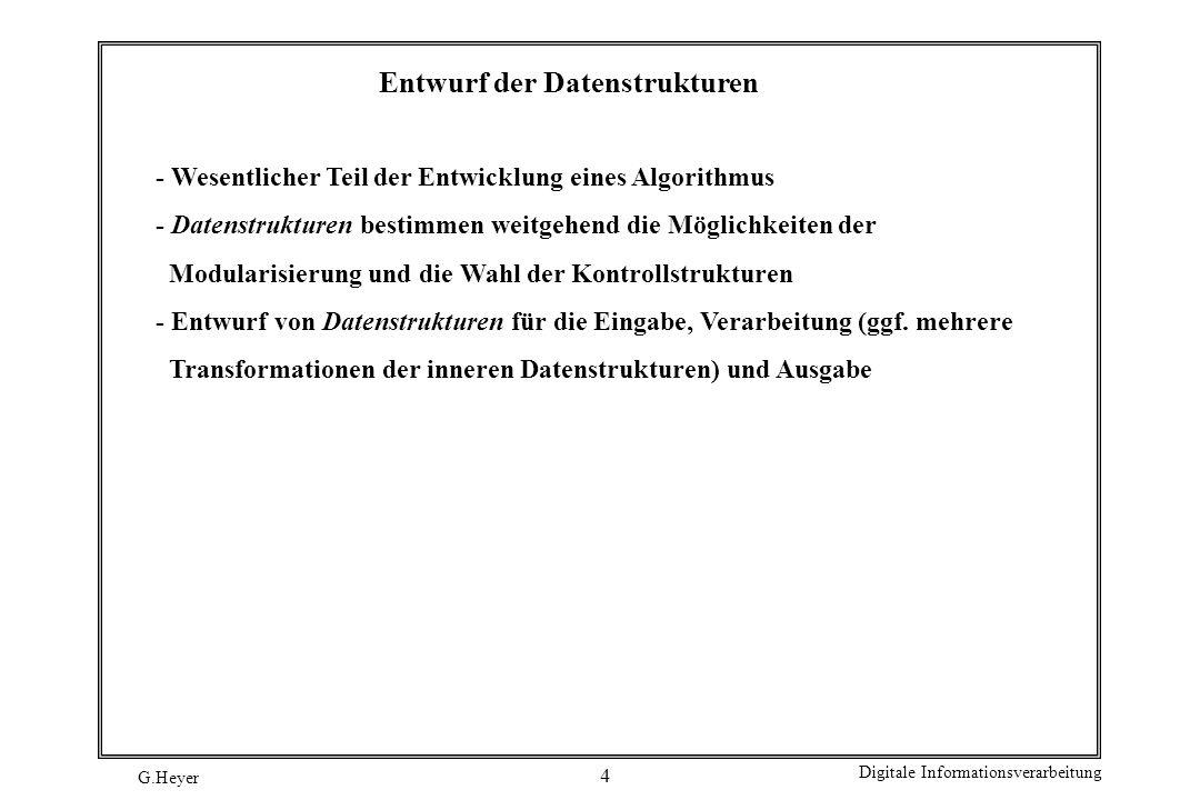 Entwurf der Datenstrukturen