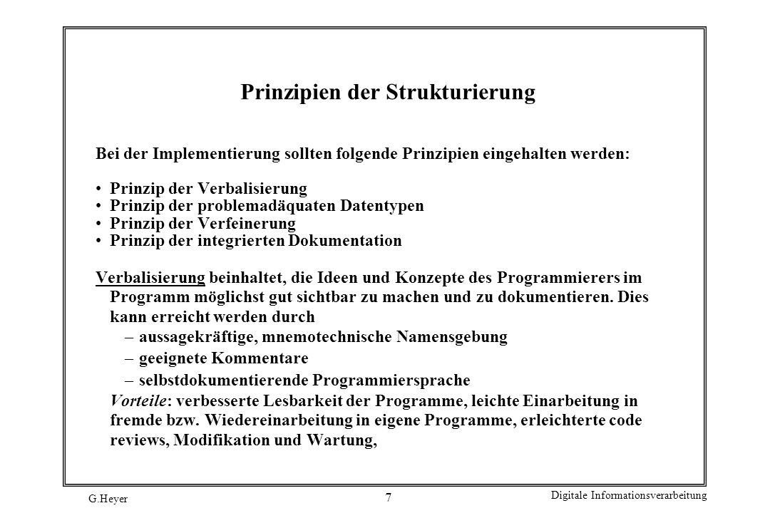 Prinzipien der Strukturierung