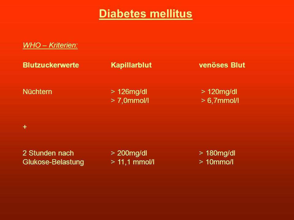 Diabetes mellitus WHO – Kriterien: