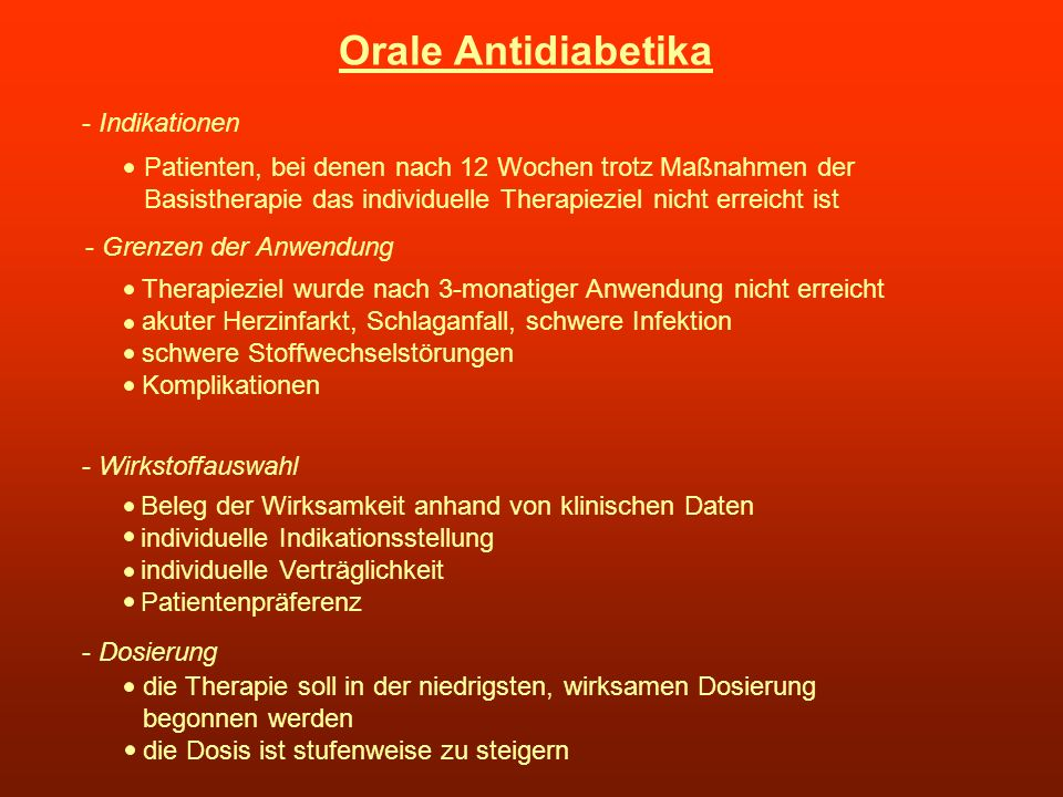 Orale Antidiabetika - Indikationen