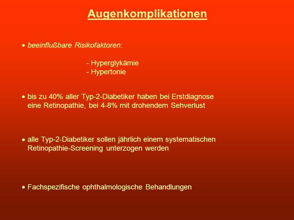 Augenkomplikationen beeinflußbare Risikofaktoren: - Hyperglykämie