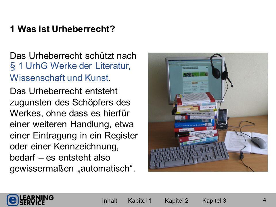1 Was ist Urheberrecht Das Urheberrecht schützt nach § 1 UrhG Werke der Literatur, Wissenschaft und Kunst.