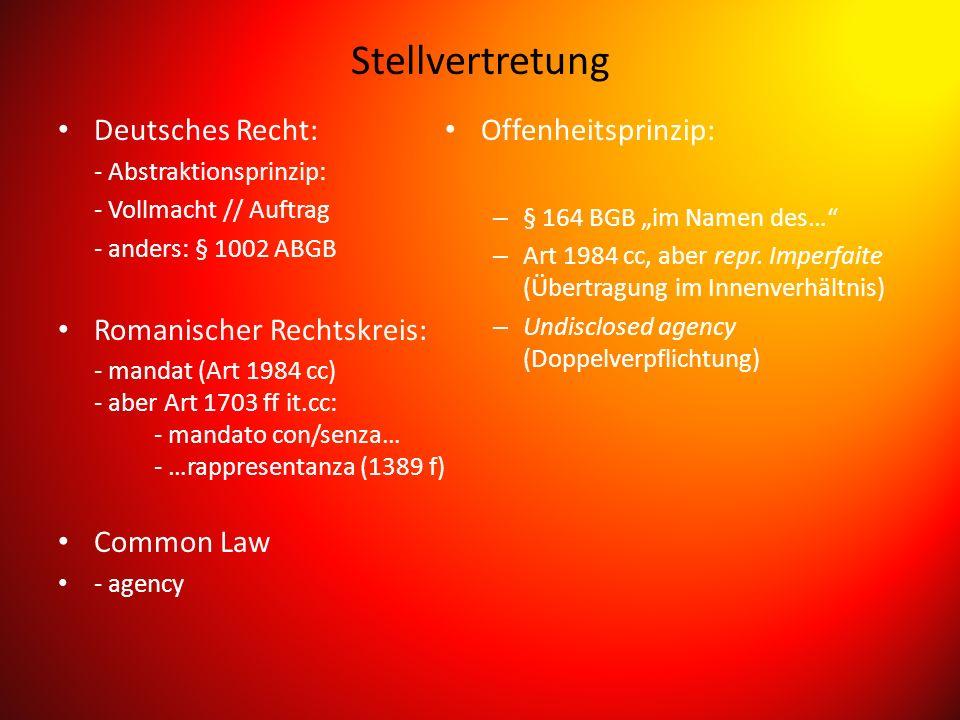 Stellvertretung Deutsches Recht: Romanischer Rechtskreis: Common Law