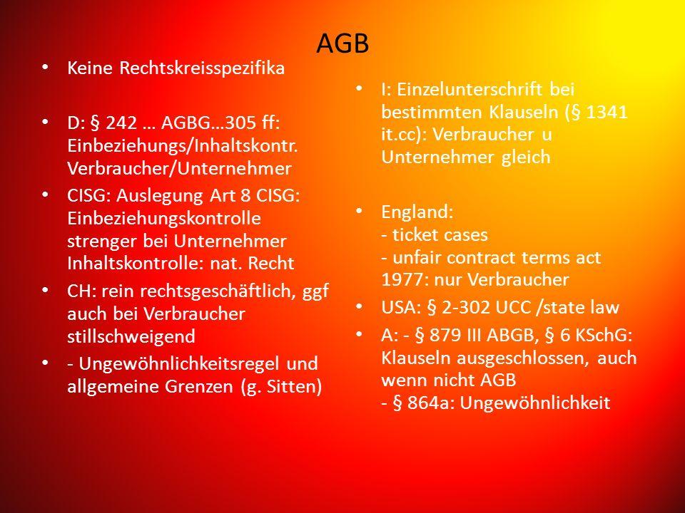 AGB Keine Rechtskreisspezifika