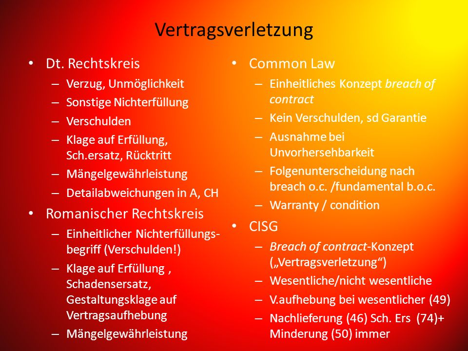 Vertragsverletzung Dt. Rechtskreis Romanischer Rechtskreis Common Law