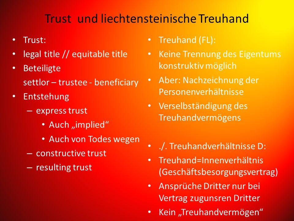 Trust und liechtensteinische Treuhand