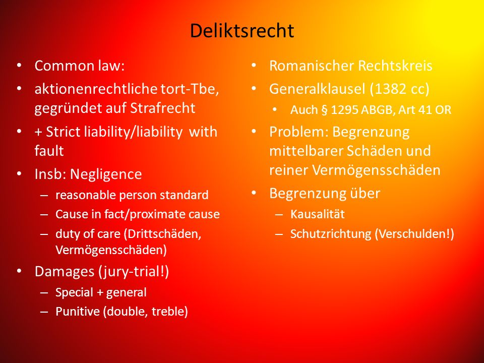 Deliktsrecht Common law:
