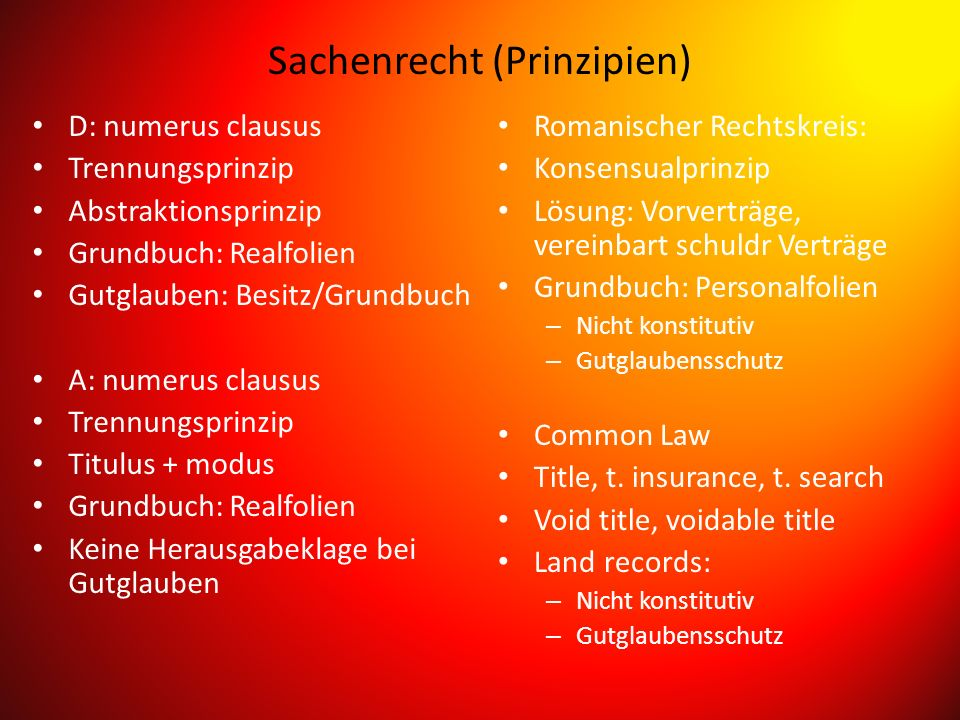 Sachenrecht (Prinzipien)