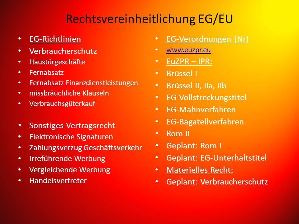 Rechtsvereinheitlichung EG/EU