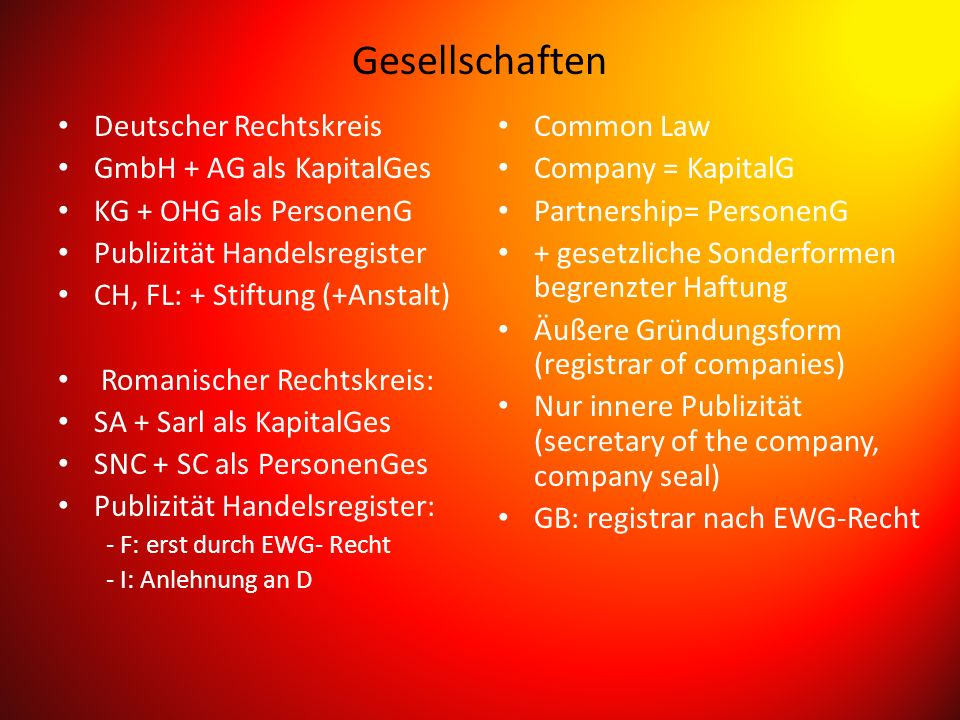 Gesellschaften Deutscher Rechtskreis GmbH + AG als KapitalGes