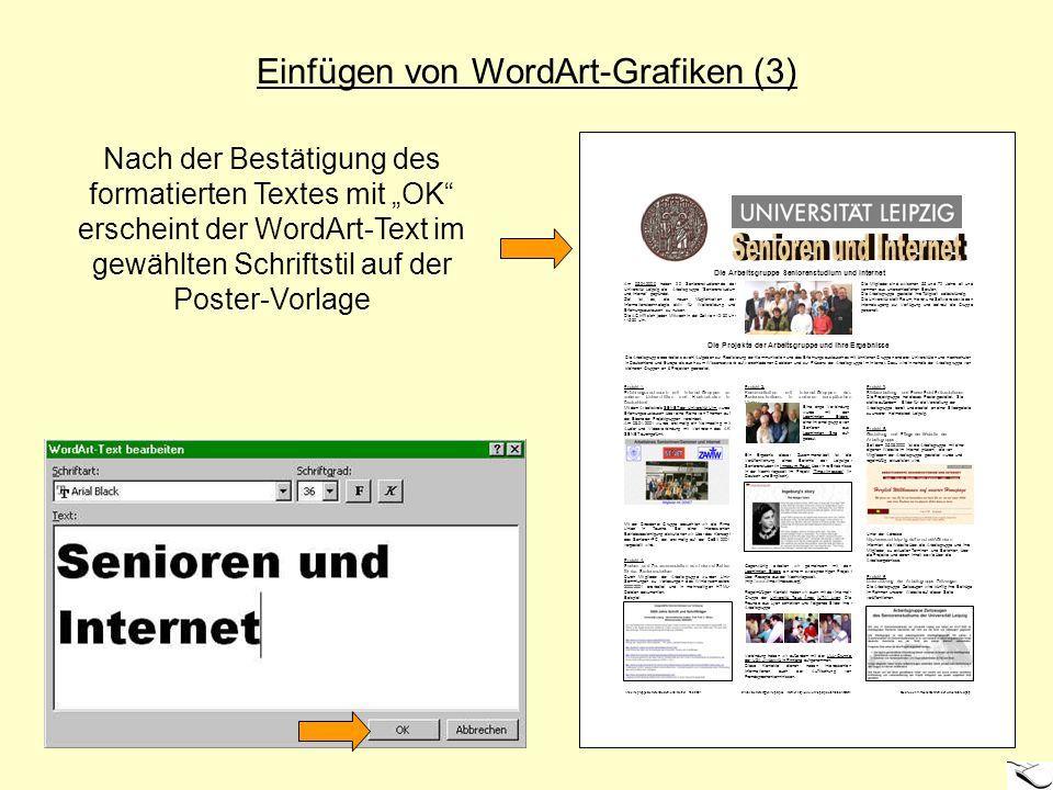 Senioren und Internet Einfügen von WordArt-Grafiken (3)