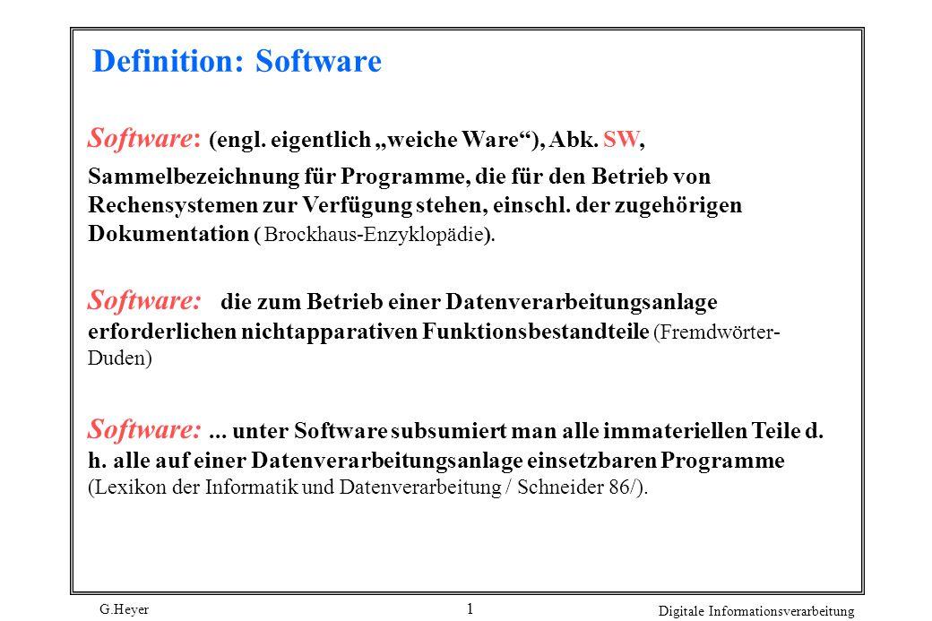 """Definition: Software Software: (engl. eigentlich """"weiche Ware ), Abk. SW,"""