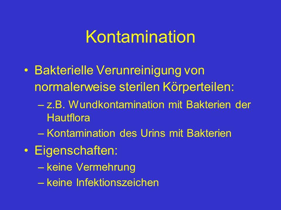 Kontamination Bakterielle Verunreinigung von normalerweise sterilen Körperteilen: z.B. Wundkontamination mit Bakterien der Hautflora.