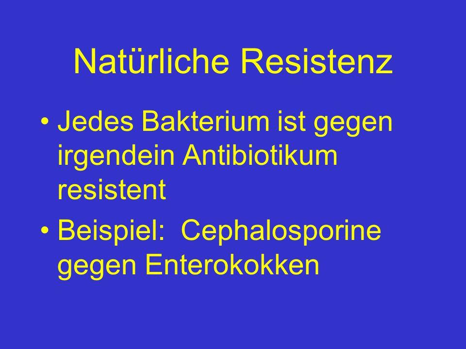 Natürliche Resistenz Jedes Bakterium ist gegen irgendein Antibiotikum resistent.