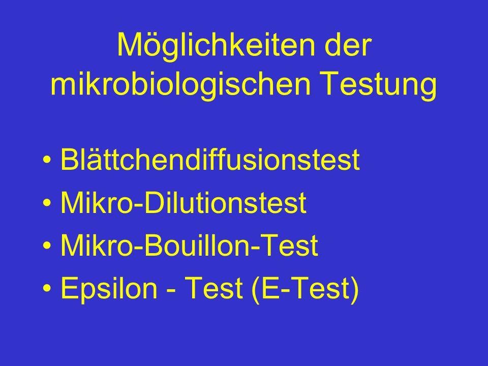 Möglichkeiten der mikrobiologischen Testung