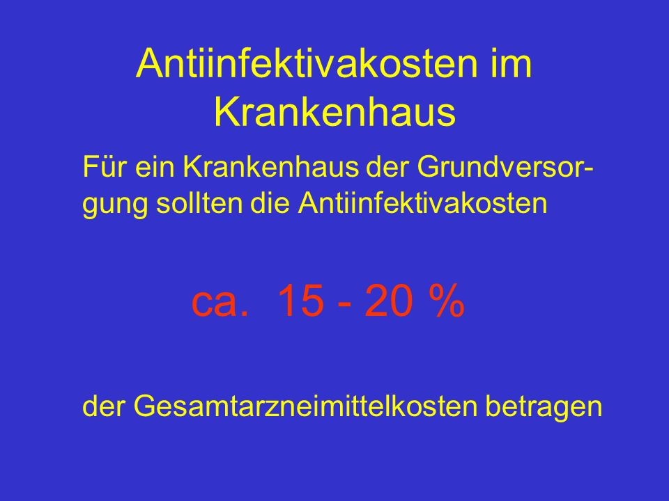 Antiinfektivakosten im Krankenhaus