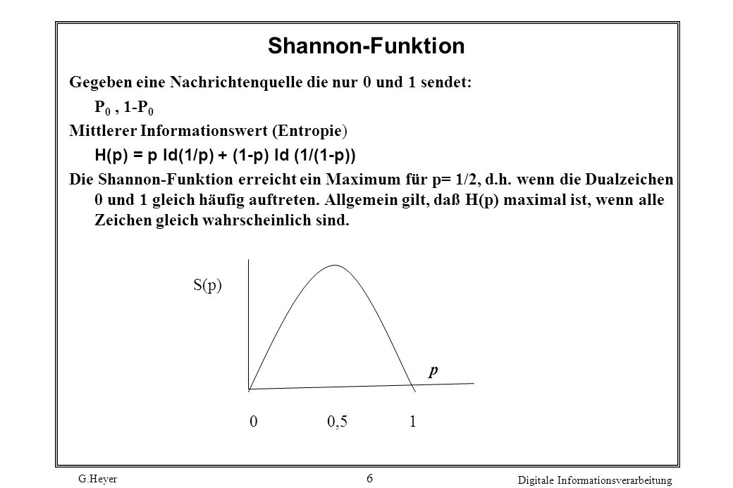 Shannon-FunktionGegeben eine Nachrichtenquelle die nur 0 und 1 sendet: P0 , 1-P0. Mittlerer Informationswert (Entropie)