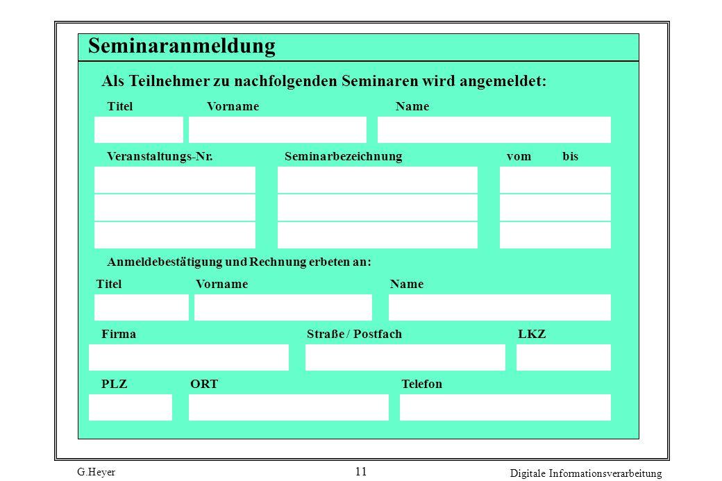 Seminaranmeldung Als Teilnehmer zu nachfolgenden Seminaren wird angemeldet: Titel. Vorname. Name.
