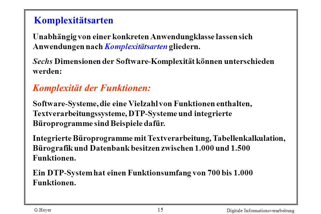 Komplexität der Funktionen: